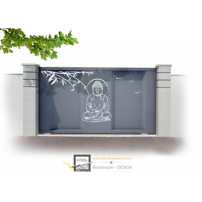 Portail contemporain coulissant aluminium bouddha one for Portillon fer pas cher